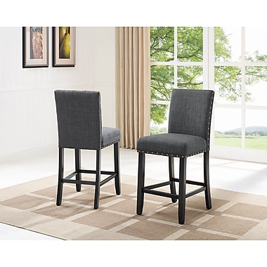 Brassex Indira 24' Bar Stool with Nail-Head Trim, Grey , 2/Set (162-24-GR)