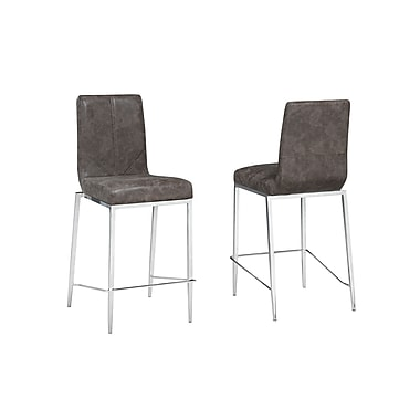 Brassex Soho 24' Bar Stool, Brown, 2/Set (C-923-BR)