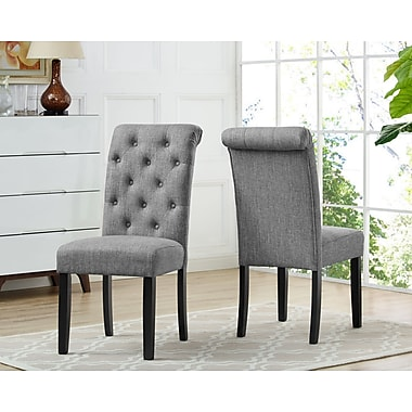 Brassex Soho Tufted Dining Chair, Grey (638-22-GR)