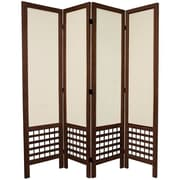 World Menagerie Mcintyre 67'' Tall Open Lattice Fabric 4 Panel Room Divider; Brown