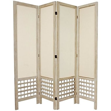 World Menagerie Mcintyre 67'' Tall Open Lattice Fabric 4 Panel Room Divider; White