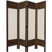 World Menagerie Huffman 67'' Tall Solid Frame Fabric 4 Panel Room Divider; Brown