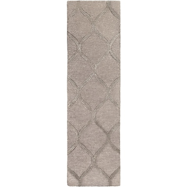 World Menagerie Massey Hand-Tufted Wool Taupe Area Rug; Runner 2'3'' x 12'