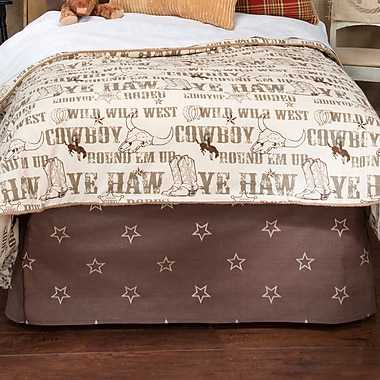 Zoomie Kids Dunecrest Brown Star Bed Skirt; Queen