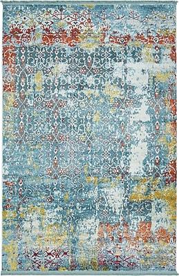 Bungalow Rose Lonerock Blue Area Rug; Rectangle 5'5'' x 8'