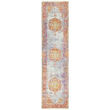 Bungalow Rose Lonerock Purple/Pink/Yellow Area Rug; Runner 2'7'' x 10'