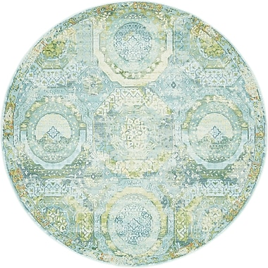 Bungalow Rose Lonerock Green/Teal Area Rug; Round 5'5''