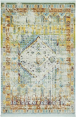 Bungalow Rose Lonerock Light Blue Area Rug; Rectangle 4'3'' x 6'