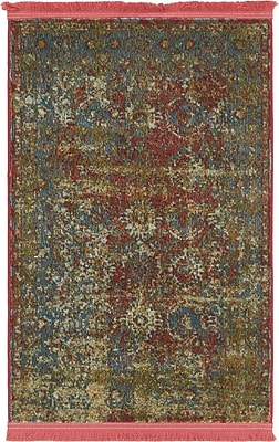 Bungalow Rose Lonerock Spanish Red/Green Area Rug; Rectangle 2'2'' x 3'