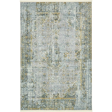 Bungalow Rose Lonerock Gray/Yellow Area Rug; Rectangle 5'5'' x 8'
