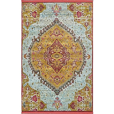 Bungalow Rose Lonerock Yellow/Red Area Rug; Rectangle 5'5'' x 8'