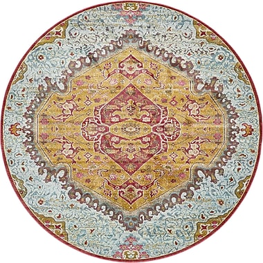 Bungalow Rose Lonerock Yellow/Red Area Rug; Round 8'4''