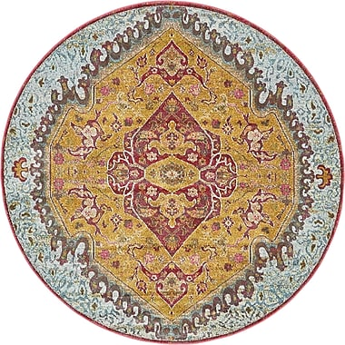 Bungalow Rose Lonerock Yellow/Red Area Rug; Round 5'5''