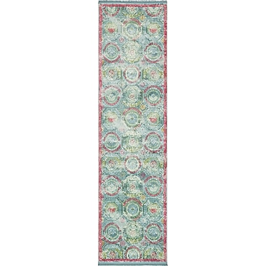Bungalow Rose Lonerock Turquoise/Pink Area Rug; Runner 2'7'' x 10'
