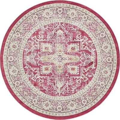 Bungalow Rose Lonerock European Pink Area Rug; Round 8'4''