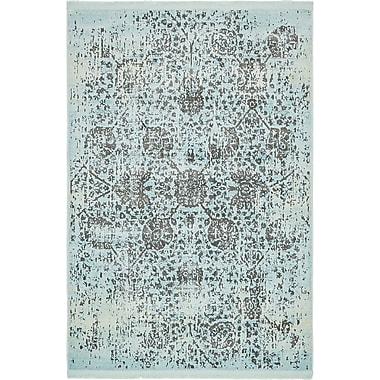 Bungalow Rose Lonerock European Light Blue Area Rug; Rectangle 4'3'' x 6'