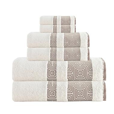 Brayden Studio 6 Piece Turkish Cotton Towel Set; Cream