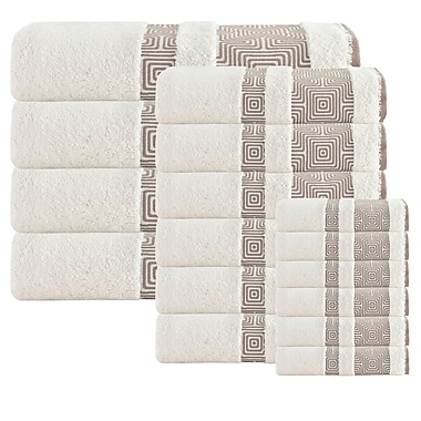 Brayden Studio 16 Piece Turkish Cotton Towel Set; Cream