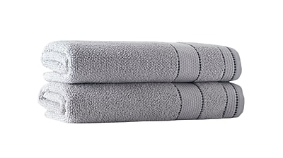 Darby Home Co Embroidery Turkish Cotton Bath Towel (Set of 2); Silver