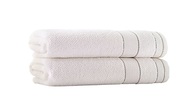Darby Home Co Embroidery Turkish Cotton Bath Towel (Set of 2); Cream