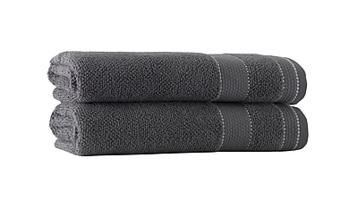Darby Home Co Embroidery Turkish Cotton Bath Towel (Set of 2); Anthracite