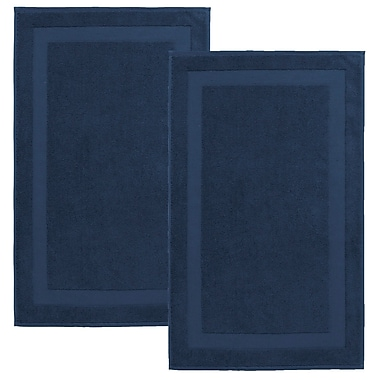 Darby Home Co Saylors Turkish Cotton Bath Rug (Set of 2); Denim