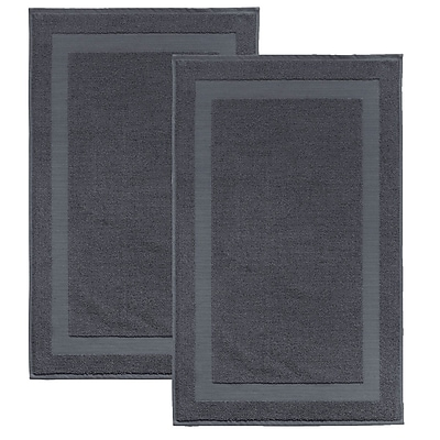 Darby Home Co Saylors Turkish Cotton Bath Rug (Set of 2); Anthracite
