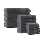 Darby Home Co 16 Piece Embroidery Towel Set; Anthracite