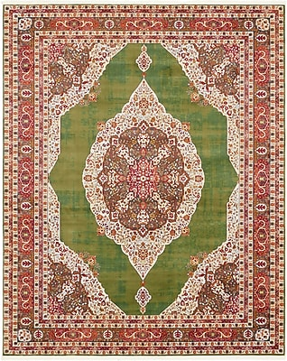 Bungalow Rose Lonerock Green/Red Area Rug; Rectangle 8'4'' x 10'