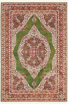 Bungalow Rose Lonerock Green/Red Area Rug; Rectangle 4'3'' x 6'