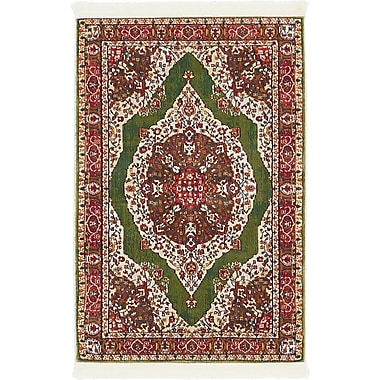Bungalow Rose Lonerock Green/Red Area Rug; Rectangle 2'2'' x 3'