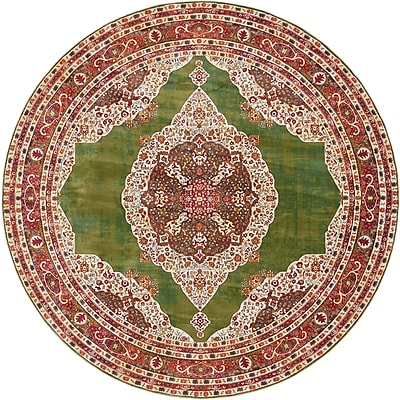 Bungalow Rose Lonerock Green/Red Area Rug; Round 8'4''