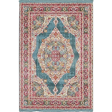 Bungalow Rose Lonerock Turquoise/Pink Area Rug; Rectangle 4'3'' x 6'