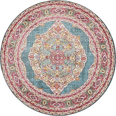 Bungalow Rose Lonerock Turquoise/Pink Area Rug; Round 8'4''