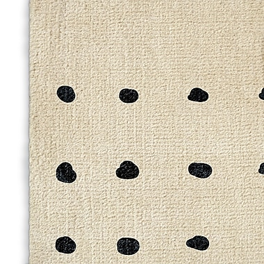 Foundry Select Geometric Ivory/Black Area Rug; Rectangle 2' x 3'