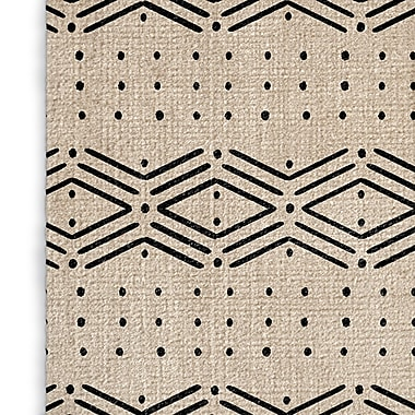Foundry Select Cream/Black Area Rug; Rectangle 3' x 5'