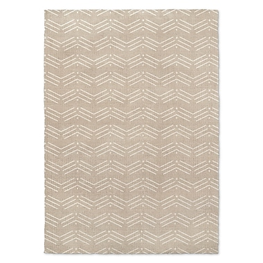 Foundry Select Cream/White Area Rug; Rectangle 3' x 5'