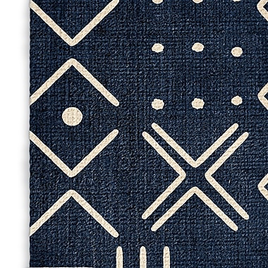 Foundry Select Rustic Blue/White Area Rug; Rectangle 3' x 5'