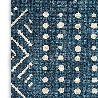 Foundry Select Modern Blue/White Area Rug; Rectangle 8' x 10'