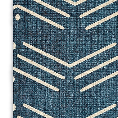 Foundry Select Global Blue/White Area Rug; Rectangle 2' x 3'