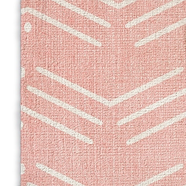 Foundry Select Rustic Blush/White Area Rug; Rectangle 8' x 10'