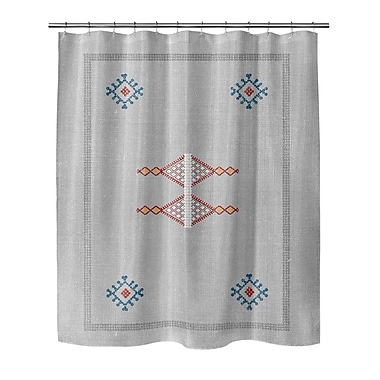 Foundry Select Geometric Woven Shower Curtain w/ Single Sided Print; 72'' H x 70'' W x 0.1'' D