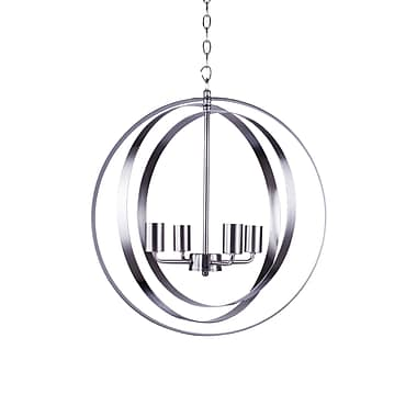 Ivy Bronx Blanchette 4-Light Globe Pendant; Satin Steel