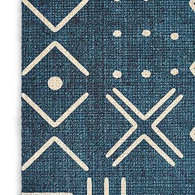 Foundry Select Geometric Woven Blue/White Area Rug; Rectangle 2' x 3'