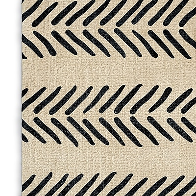 Foundry Select Inspired Ivory/Black Area Rug; Rectangle 3' x 5'