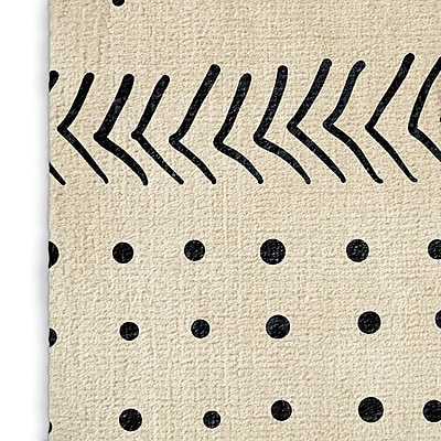 Foundry Select Modern Geometric Ivory/Black Area Rug; Rectangle 3' x 5'