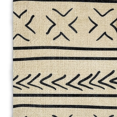 Foundry Select Ivory/Black Area Rug; Rectangle 2' x 3'