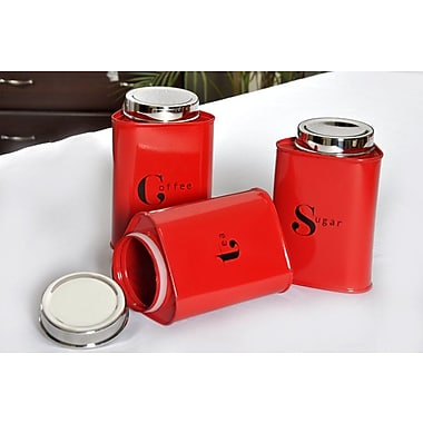 Latitude Run Airtight Powder Coated 3 Piece Triangular Kitchen Canister Set; Red
