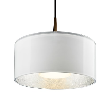 Latitude Run Hebron 1-Light Drum Pendant; White/Silver