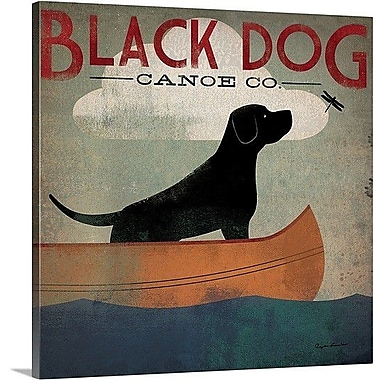 Red Barrel Studio 'Black Dog Canoe' Gallery Graphic Art on Wrapped Canvas; 24'' H x 24'' W x 1.5'' D